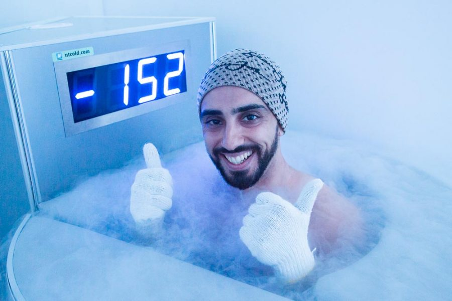 Man Trying whole body cryotherapy in Sydney